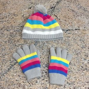 Girls West Loop Fleece Lined Hat & Gloves